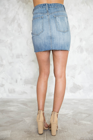 Take Me Back Denim Skirt - Light Wash - Haute & Rebellious