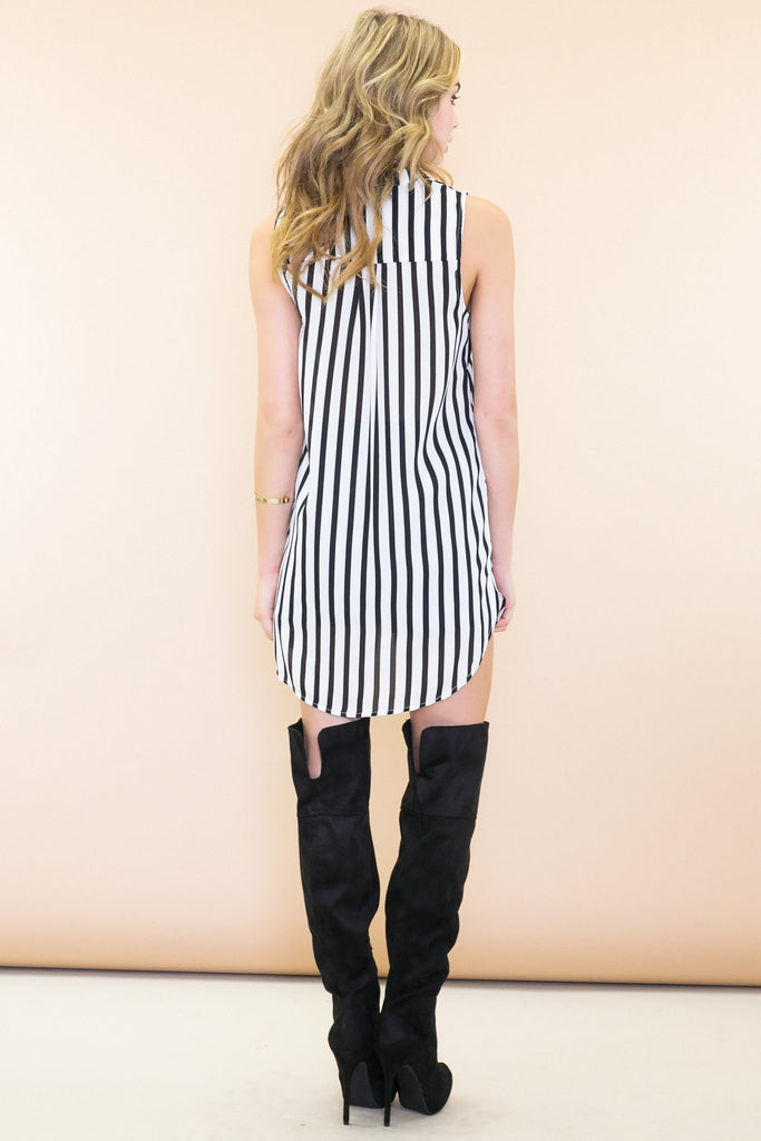 Erin Striped Sleeveless Dress Shirt