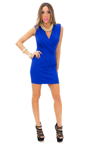 FRANCI SLEEVELESS DEEP-V DRESS - Blue - Haute & Rebellious
