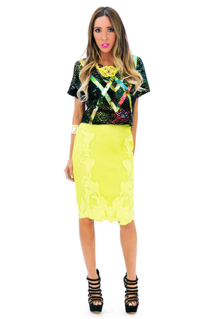 NEAMON MESH CONTRAST PENCIL SKIRT - Haute & Rebellious