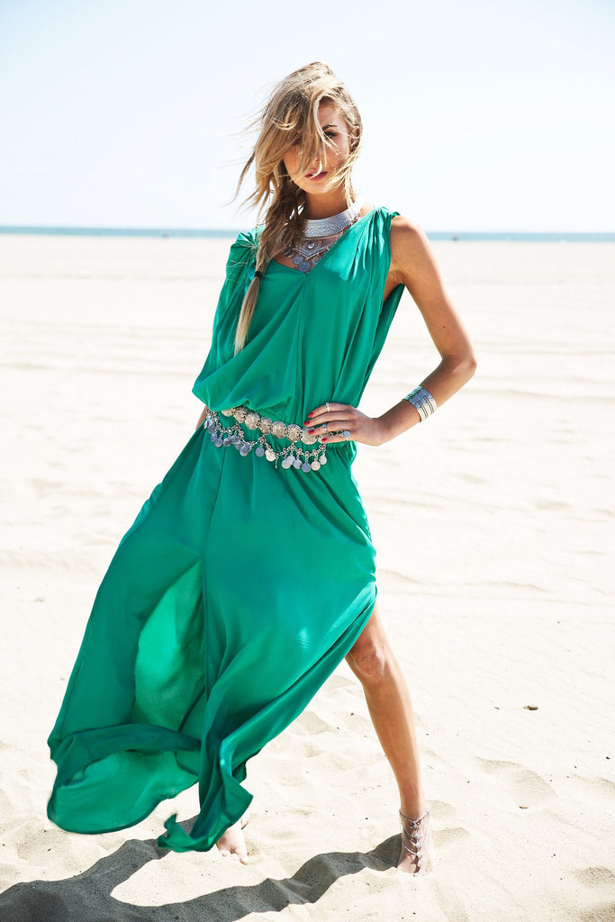 Molin Front Slits Chiffon Maxi Dress - Emerald - Haute & Rebellious