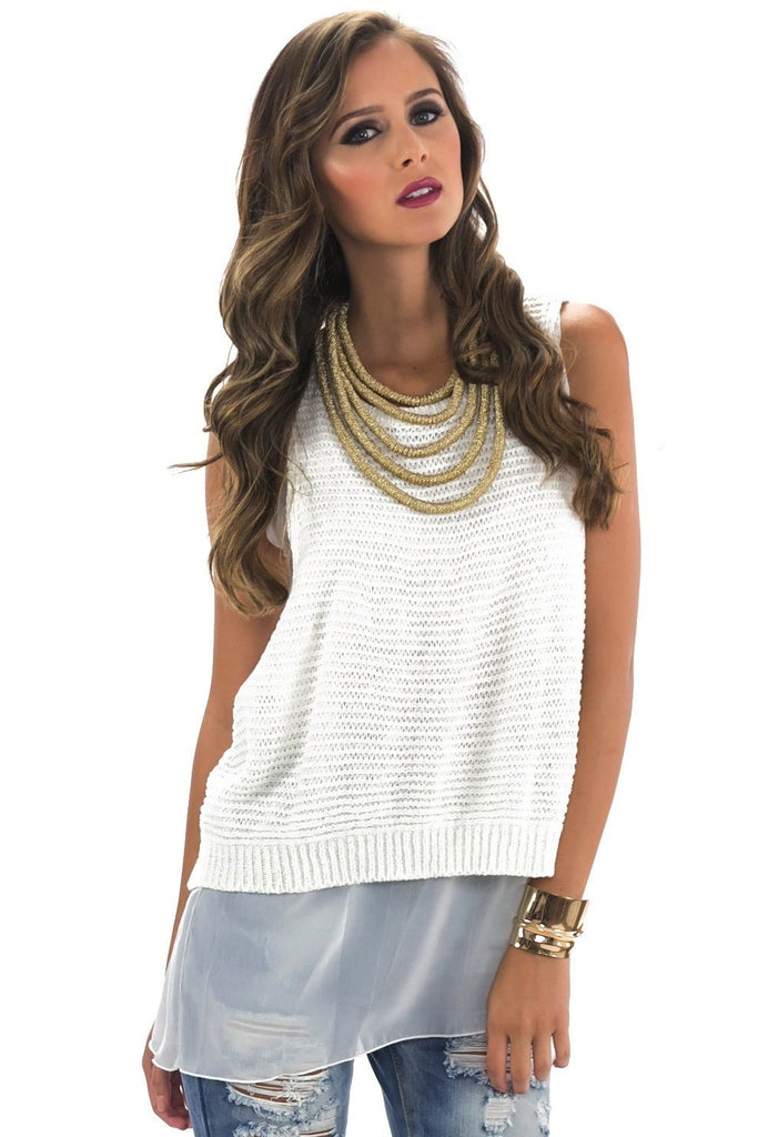 MARA CONTRAST KNIT TOP - White