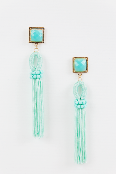 Stay a While Tassel Earring - Mint