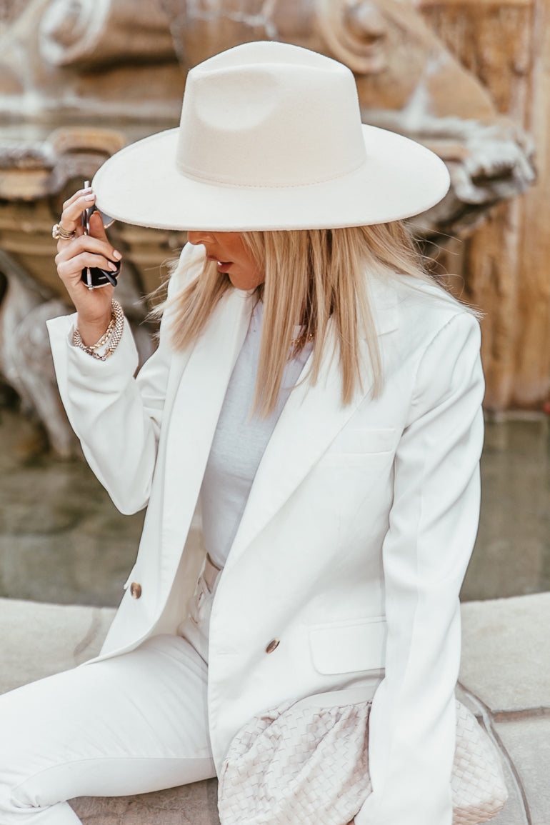 Suede Flat Brim Hat - Off White