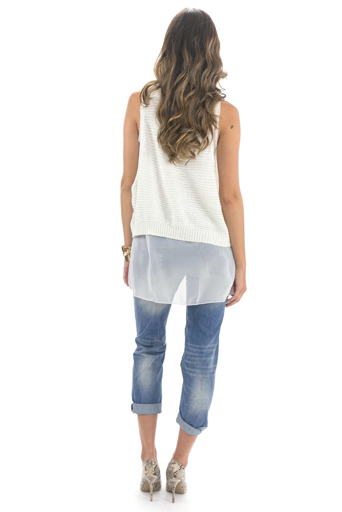 MARA CONTRAST KNIT TOP - White /// Only 1-M/L Left /// - Haute & Rebellious