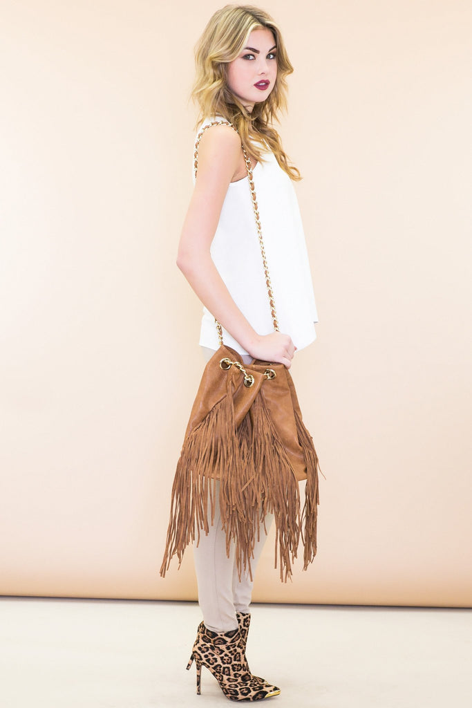Leather Fringe Bucket Bag - Camel