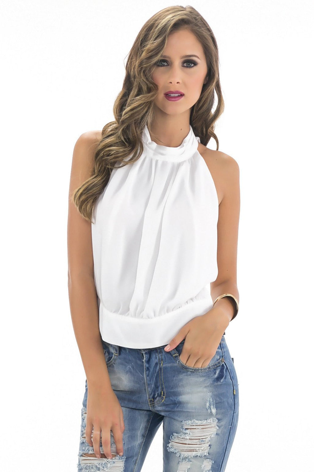 ALISA SLEEVELESS HALTER TOP - White - Haute & Rebellious