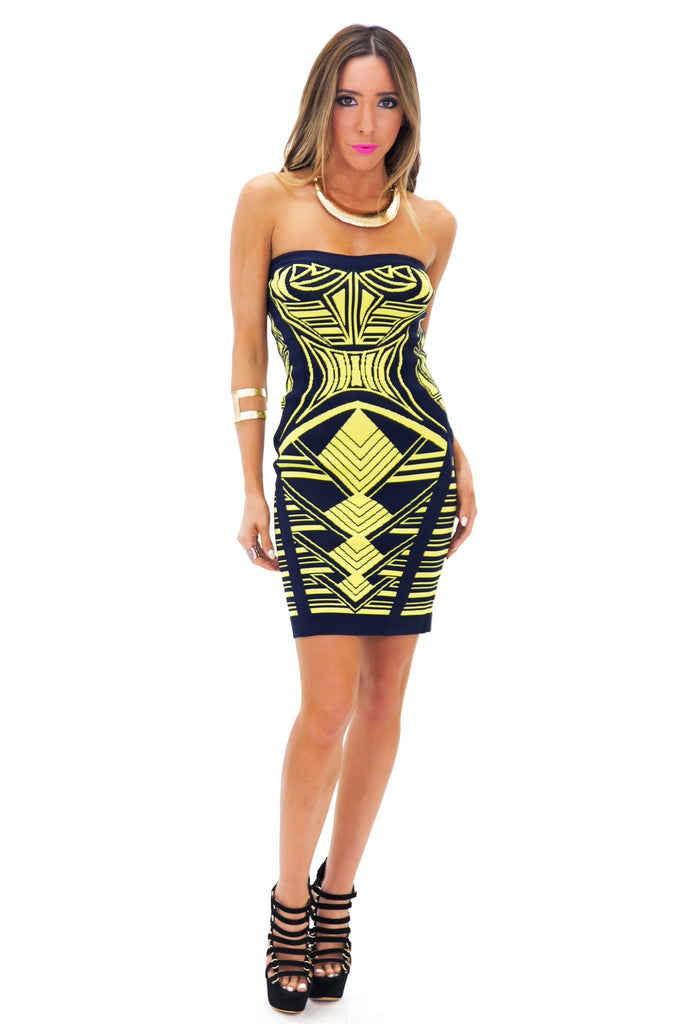 ARRON AZTEC BANDAGE TUBE DRESS