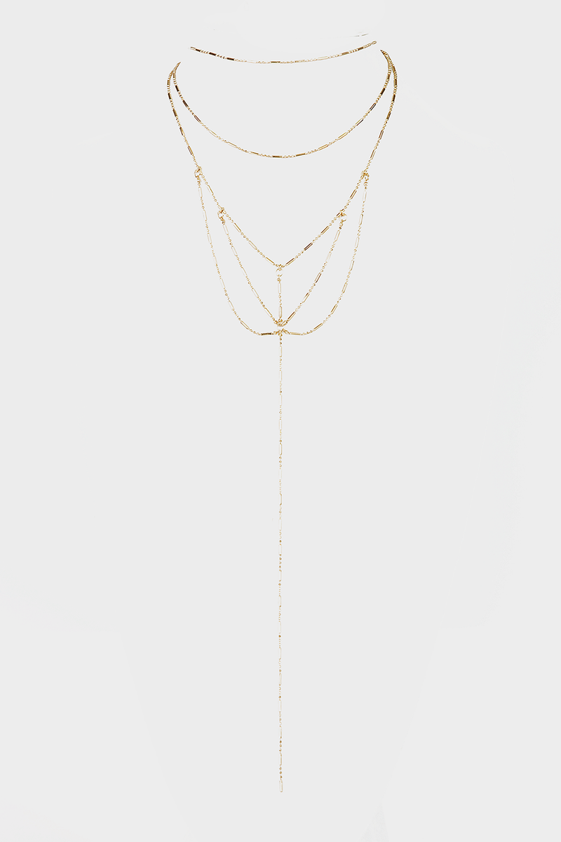 Multi Layered Gold Long Chain Necklace - Haute & Rebellious