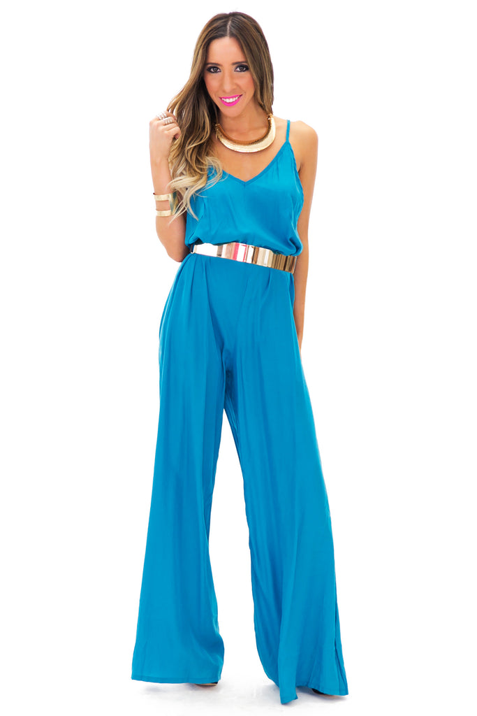 VERIL V-DETAILED JUMPSUIT - Teal