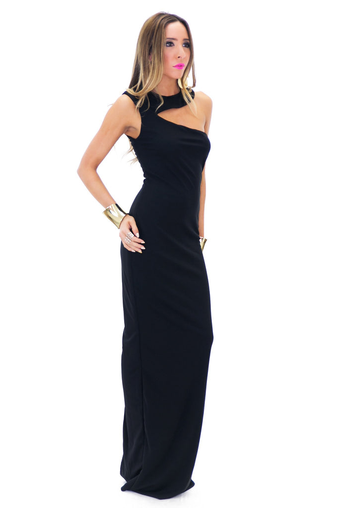 BERIN ONE SHOULDER MAXI - Black