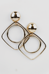 Hoop Inside Square Metal Earring - Haute & Rebellious