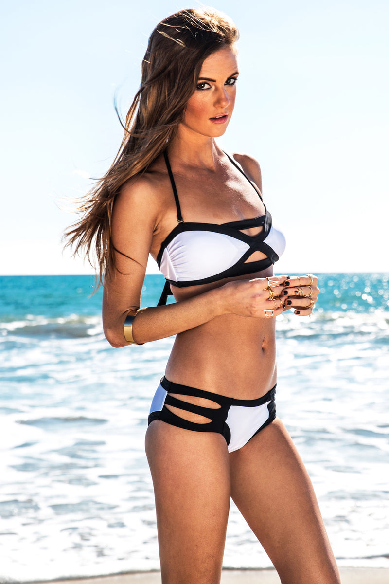 Odeza Contrast Strap Swimsuit Top - Haute & Rebellious