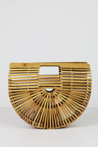 Circle Handle Straw Basket Bag