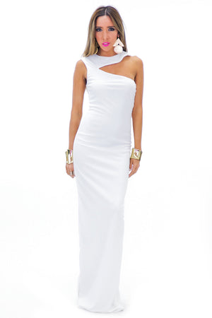 BERIN ONE SHOULDER MAXI - White - Haute & Rebellious