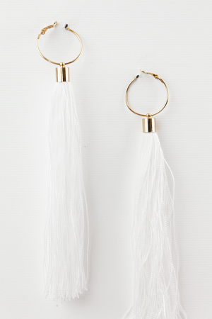 Tassel Statement Earring - White - Haute & Rebellious