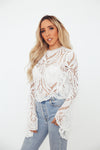 Lace Bell Sleeve Top - White /// Only 1-S Left ///