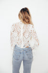 Lace Bell Sleeve Top - White