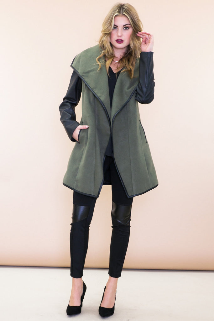 Graves Leather Sleeve Trench Coat