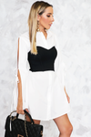 Long Button-Up Shirt with Crop Bustier - Haute & Rebellious