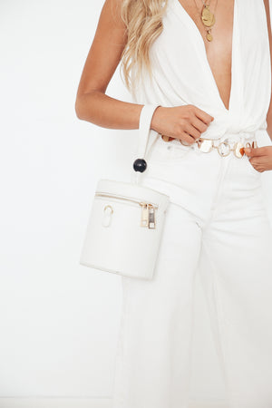 Handle Round Bucket Bag - White