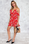 Ruffle Off-Shoulder Floral Wrap Dress - Haute & Rebellious