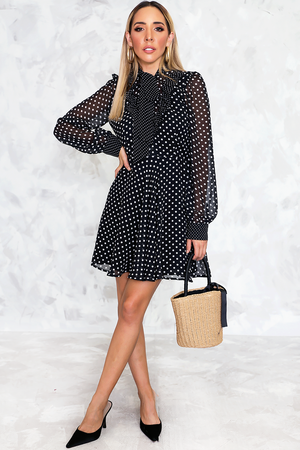 Polka Dot Dress with Bow-Tie Detail - Haute & Rebellious