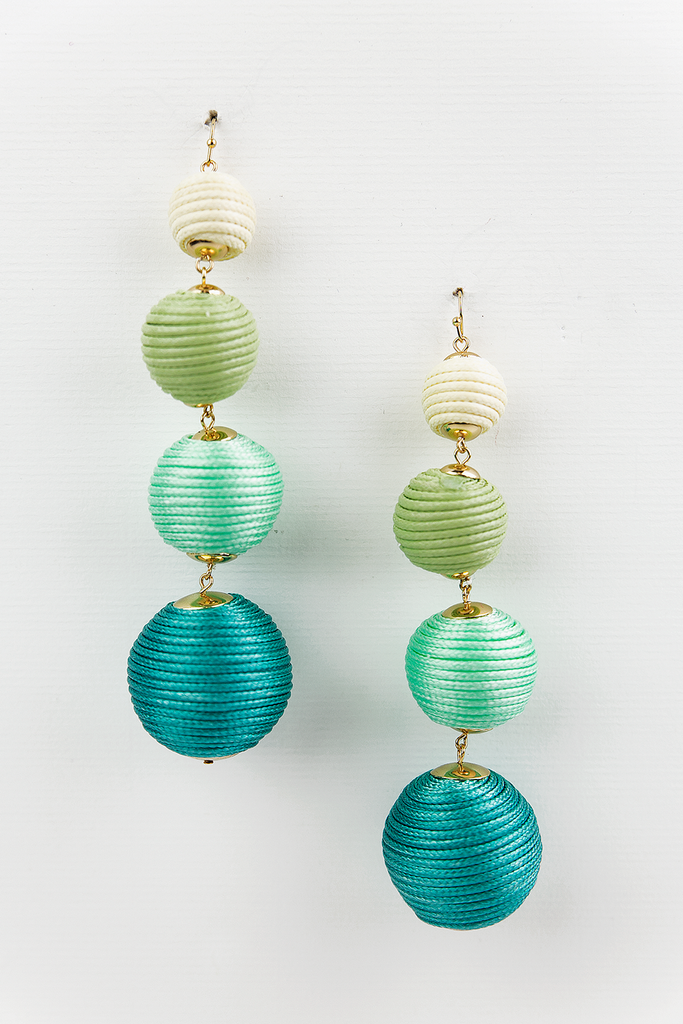Statement Pom Pom Balls Dangle Earring - Green