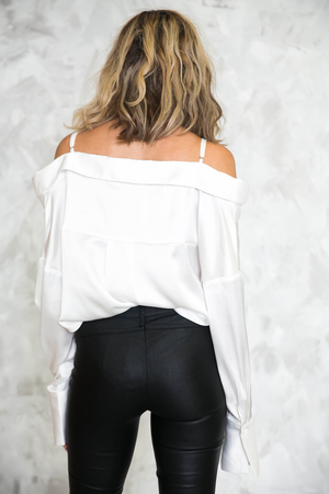 Off-Shoulder Satin Blouse /// Only 1-S Left /// - Haute & Rebellious