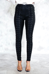 Lace Up Coated Skinnies - Haute & Rebellious