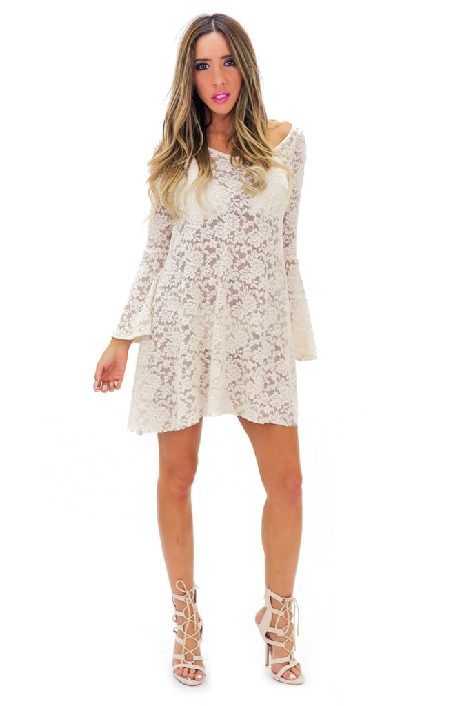 AUDREY LACE BELL SLEEVE DRESS