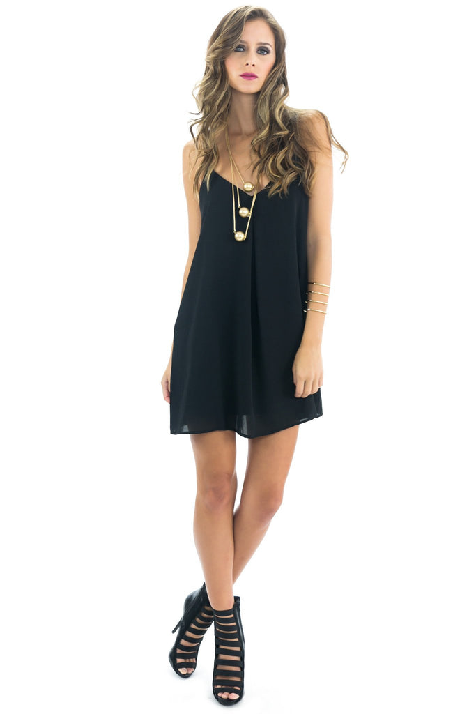 GELA SPAGHETTI CAMISOLE DRESS - BLACK