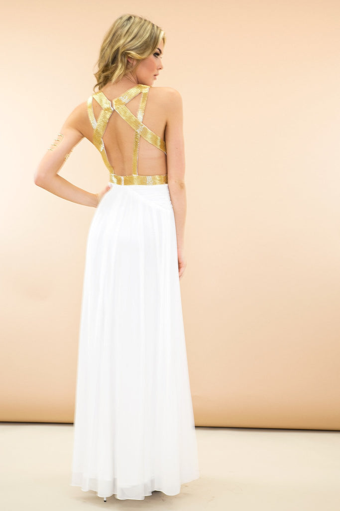 Cleo Grecian Goddess Maxi Dress - White