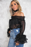 Ruffle Story Off Shoulder Top - Black - Haute & Rebellious