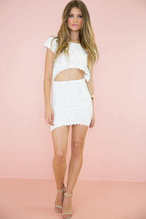Aihana Lace Crop Top - White - Haute & Rebellious