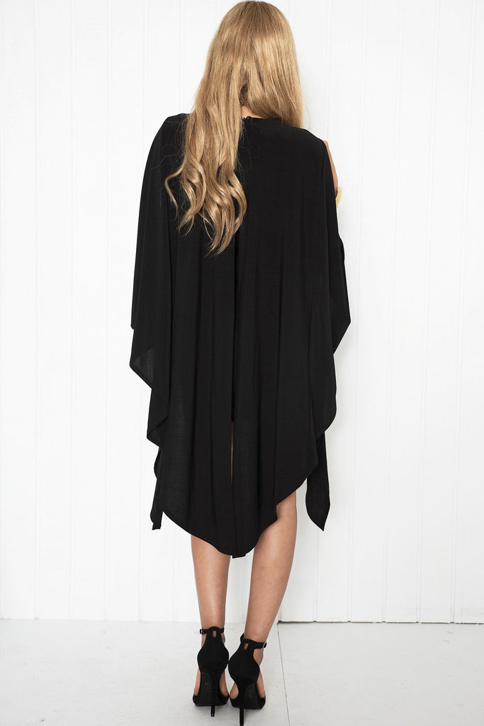Dacia Deep-V Cape Dress - Black