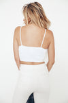 Spaghetti Strap Ribbed Tube Top - White