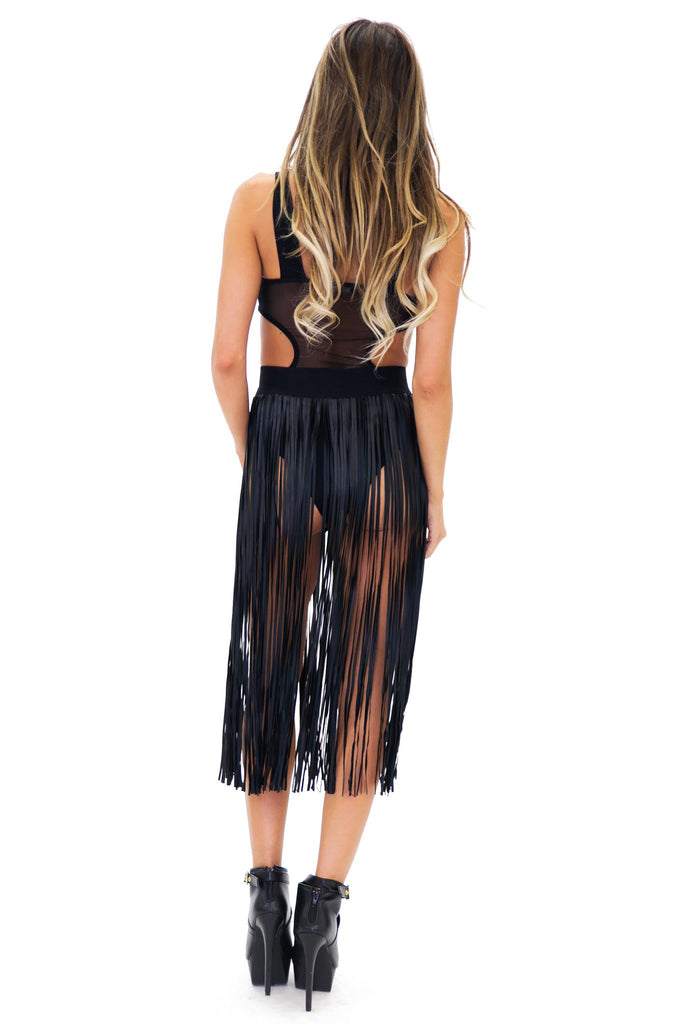 FRED VEGAN LEATHER FRINGE SKIRT