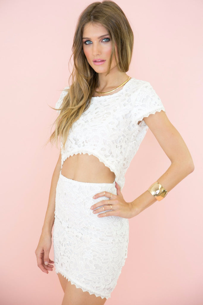 Aihana Lace Crop Top - White