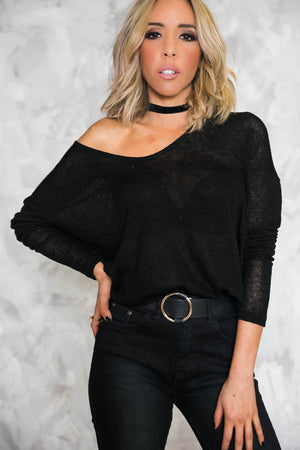 Scarlett Long Sleeve Top - Black - Haute & Rebellious