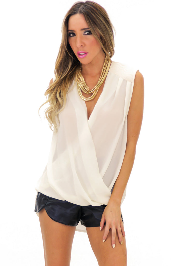 ROME PADDED SHOULDER CHIFFON BLOUSE