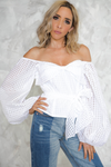 Waiting Here Off Shoulder Puff Sleeve Top - White - Haute & Rebellious
