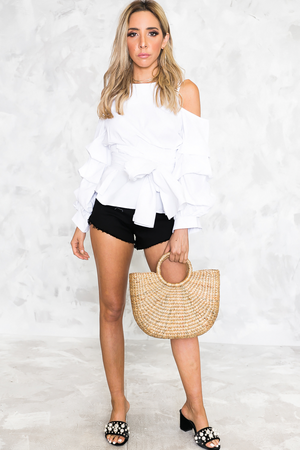 Look Good Ruched Sleeve Wrap Top - Haute & Rebellious