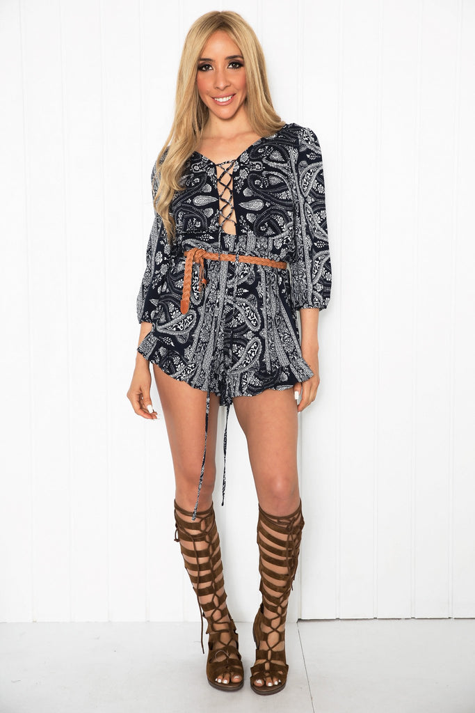 Ellah Open Back Lace-Up Romper - Haute & Rebellious