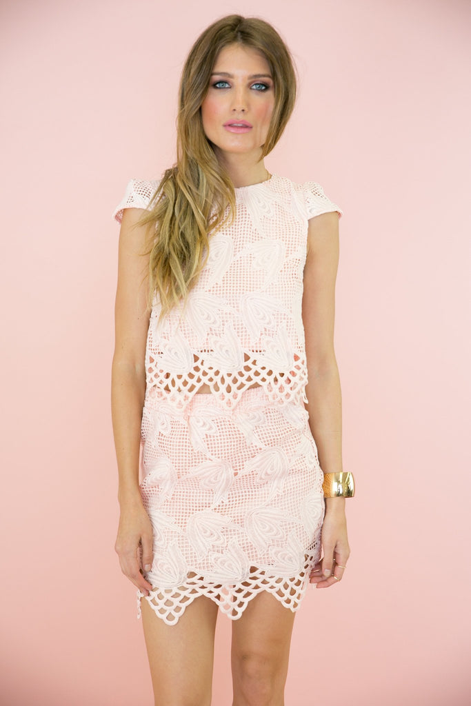 Erin Lace Mesh Detail Top - Blush
