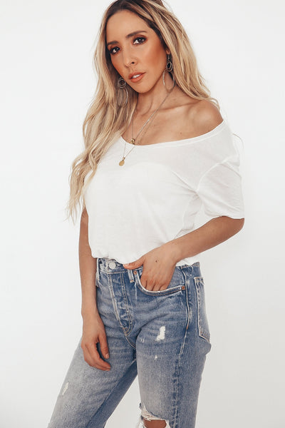 Scoop-neck T-shirt - White