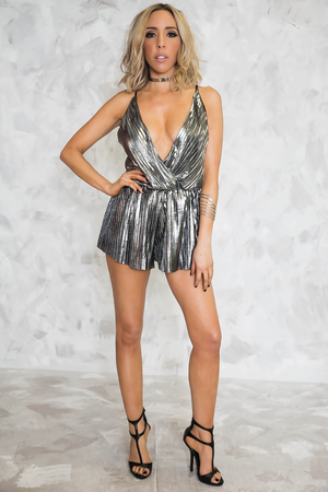 Metallic Disco Deep-V Sleeveless Romper /// ONLY 1-S LEFT/// - Haute & Rebellious