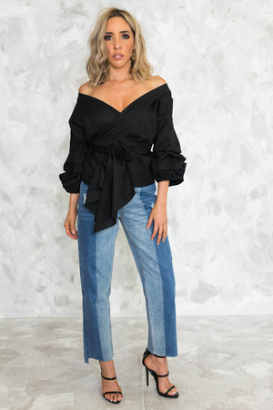 Ruched Sleeve Wrap Top - Black - Haute & Rebellious