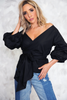 Ruched Sleeve Wrap Top - Black