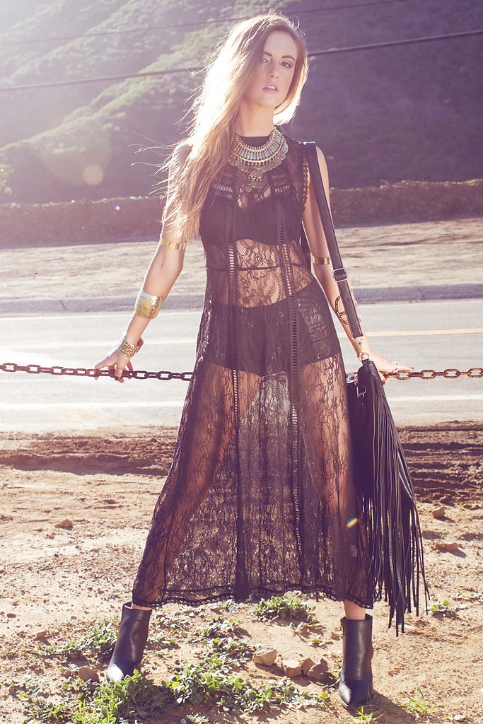 Palm Desert Lace Maxi Dress - Black